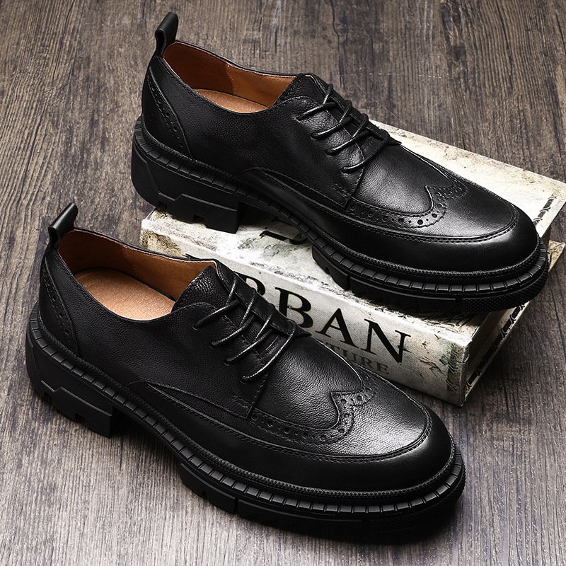 High Quality Genuine Leather Shoes Men Lace Up Business Men Shoes Men Dress Shoes all match cowhide autumn winter British retro in Men 39 s Casual Shoes from Shoes