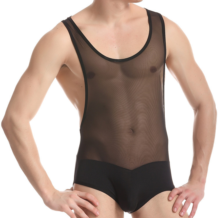 Men Sexy Shapers Good Elasticity Brief Net Yarn Siamese Underwear Panties Transparent Interest Sexy Shapers Bodywear Bodysuit