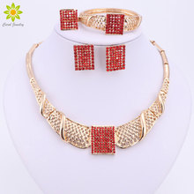 Bridal Wedding African Beads Jewelry Sets Gold Color For Women Red Crystal Fashion Necklace Earrings Bracelet Ring