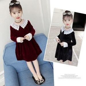 Image 2 - 4Colors New Girl Gold Velvet Spring Autumn Dress Girls Kids White Lace Flower Princess Dresses Children Clothes 3 14T