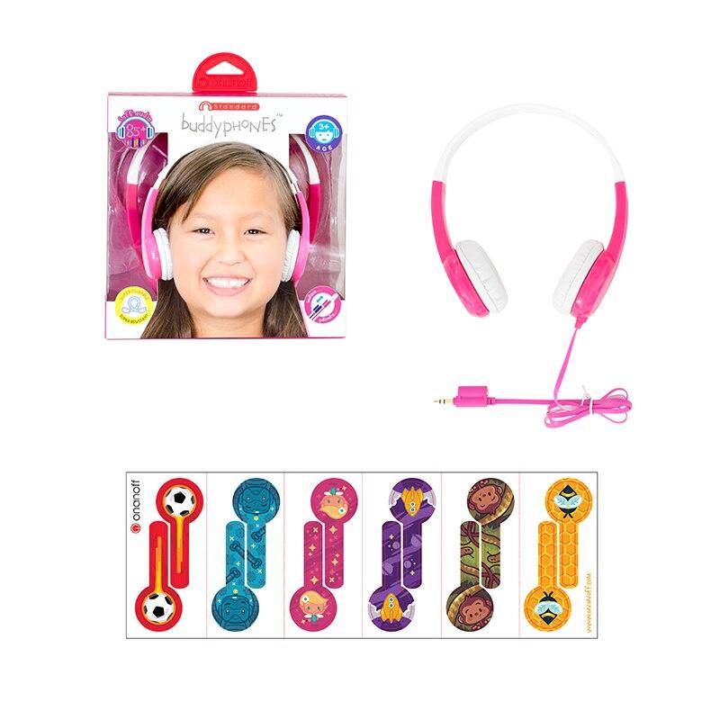 ONANOFF Standard Buddyphones Enfants Professionnel Sûr D'écoute Casque Avec Partage Câble Mignon Enfants Mini Over ear Casque