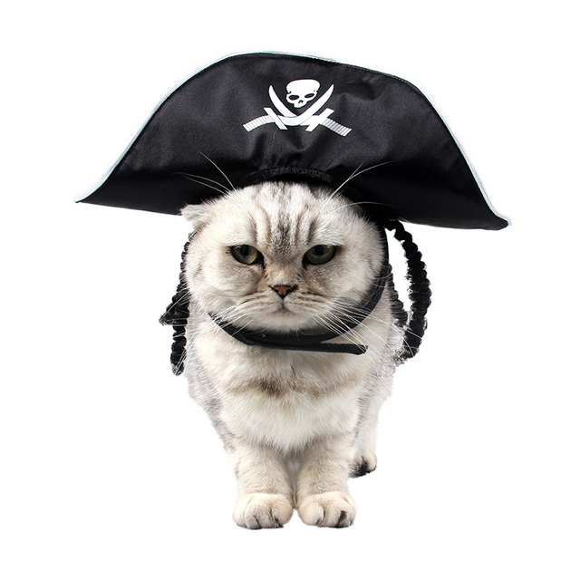 pet cat halloween costume cool skeleton pirate caps for cat dog holiday funny hat cosplay party