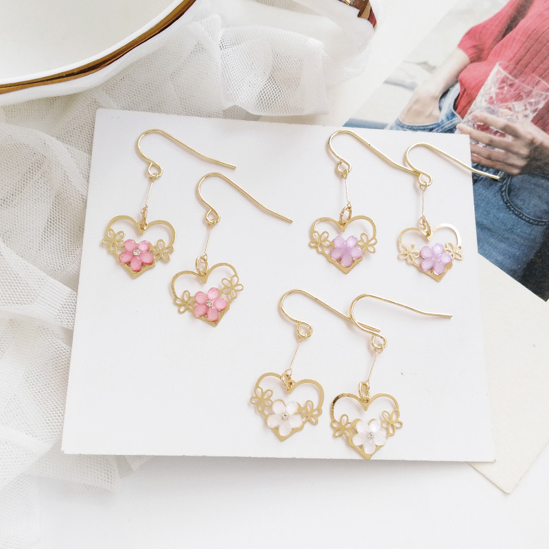 Timlee E045 New Sweet Cute Cherry Blossoms Flower Heart Rhinestone Alloy Drop Earrings,Temperament Jewelry Wholesale