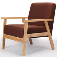 Wooden Low Seat Armchairs Sofa Fabric Upholstery Seat&Back Living Room Furniture Sofa Leisure Arm Chair Single Couch Wood Legs