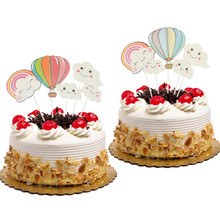 Cake Flags Cupcake Topper hot-air balloon rainbow Clouds Toppers Bride Kids Birthday Wedding Wrapper Party Baking DIY