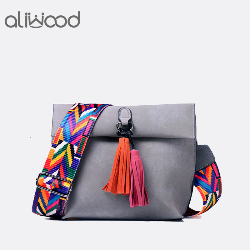 Aliwood Brand Colorful strap Women bag Tassel Messenger Bag Female Crossbody Bag Ladies Shoulder Bags Designer Handbags Bolsas