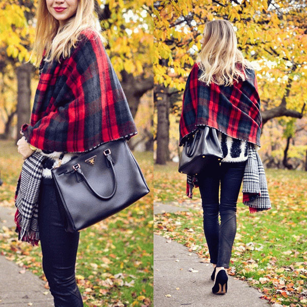 New Hot Lady Women Neck Warm font b Tartan b font Grid Pashminas Reversible Shawl Scarf