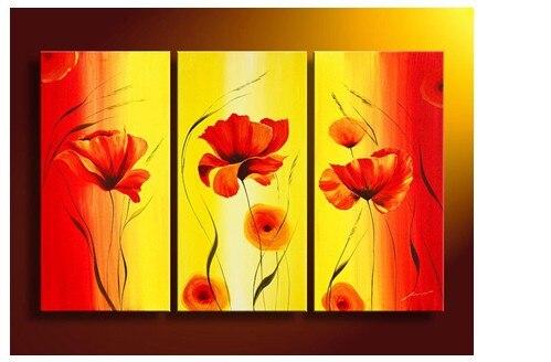 3 Piece Wall Art No Framed Modern Abstract Acrylic Flower Orange ...