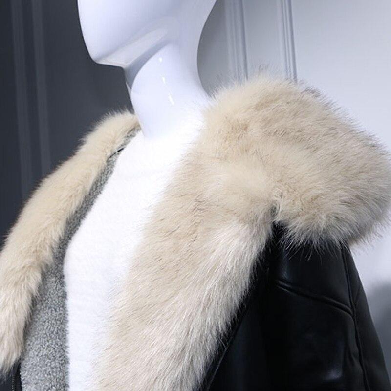 C2188 Automobile Hoode Noir Renard Streetwear Européenne Femmes Fourrure En Style D'hiver Veste Manteaux Cuir Femme Velours Russe HvAHqZ4w