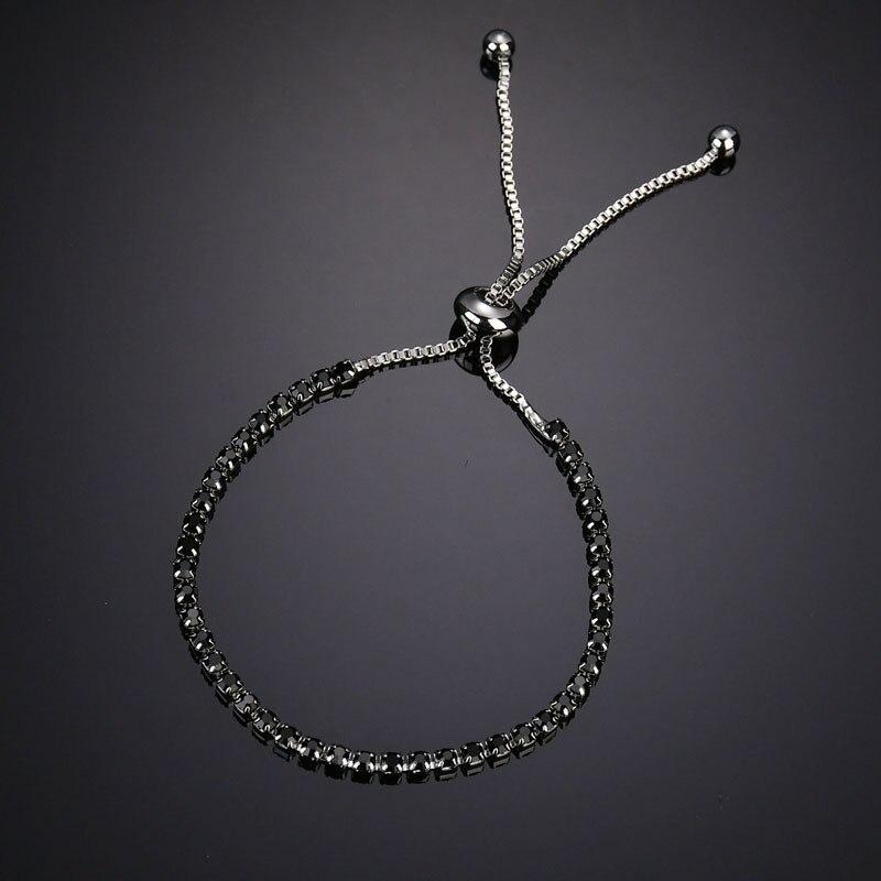 2019 New Cubic Zirconia Silver Charm Bracelet Bangle For Women Rhinestone Bracelets Femme Bijoux Jewelry Adjustable in Charm Bracelets from Jewelry Accessories