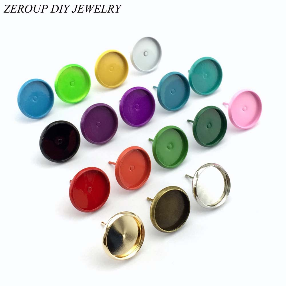 12mm Stud Earring Round Silver Color Antique Bronze Plated Glass Cabochon Base Earring Setting Supplies for Jewelry 20pcs/lot