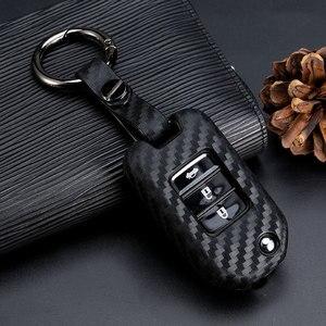 Image 3 - 2019 New Carbon Fiber Silica gel Key Cover Case For Honda 2016 2017 CRV Pilot Accord Civic Car Shell Auto Key keychain keyring