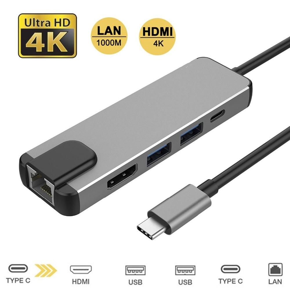 5 in 1 USB Type C Hub Hdmi 4K USB C Hub to Gigabit Ethernet Rj45 Lan Adapter for Macbook Pro Thunderbolt 3 USB-C Charger Port new 2018 usb type c hub to hdmi 4k adapter for macbook pro usb c adapter to 2 usb 3 0 ports with 1 type c charging port
