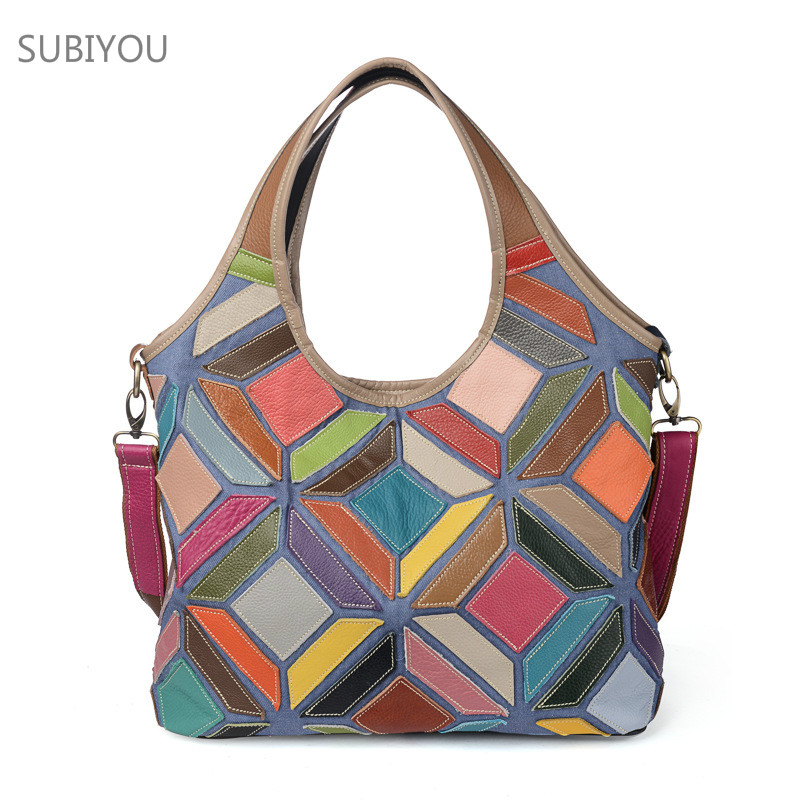 Patchwork Shoulder Bag Women Tote Bag Stitching Package Diamond Shape Handbag Womens Real Leather Bag Ladies Hand Bags Shopping