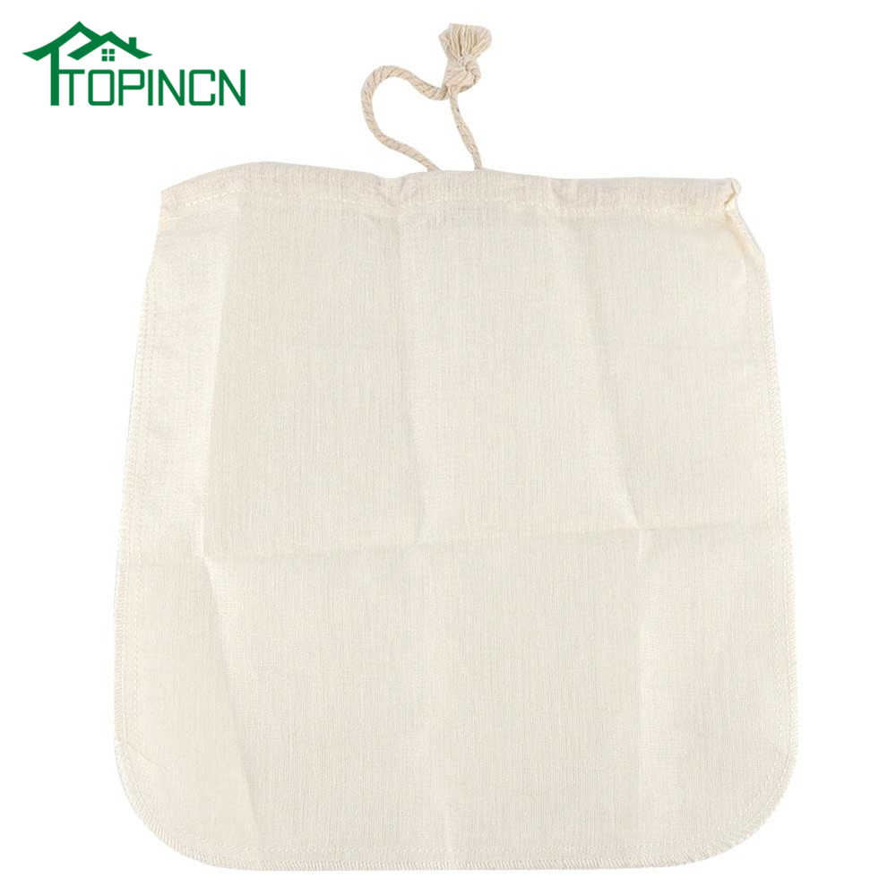 TOPINCN Nut Almond Milk Filter Bag Reusable Kitchen Sieve Strainer Linen Cotton Soybean Milk Tea Bag