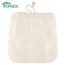 TOPINCN Nut Almond Milk Filter Bag Reusable Kitchen Sieve Strainer Linen Cotton Soybean Milk Tea Bag(China)