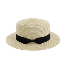Simple Summer Sun Straw Hat Women Flat Top Beach Female Casual Panama Lady Brim Bowknot Cap for Girls