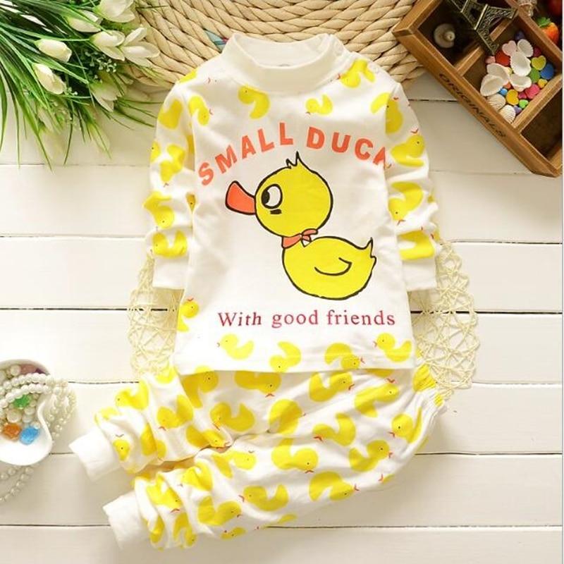 14 krāsas Pavasara rudens Zīdaiņu zēni Meitenes Kokvilnas pidžama Jaundzimušā karikatūra O-kakla apģērbs Set miega komplekta topi + biksītes 3M-2T mazulim