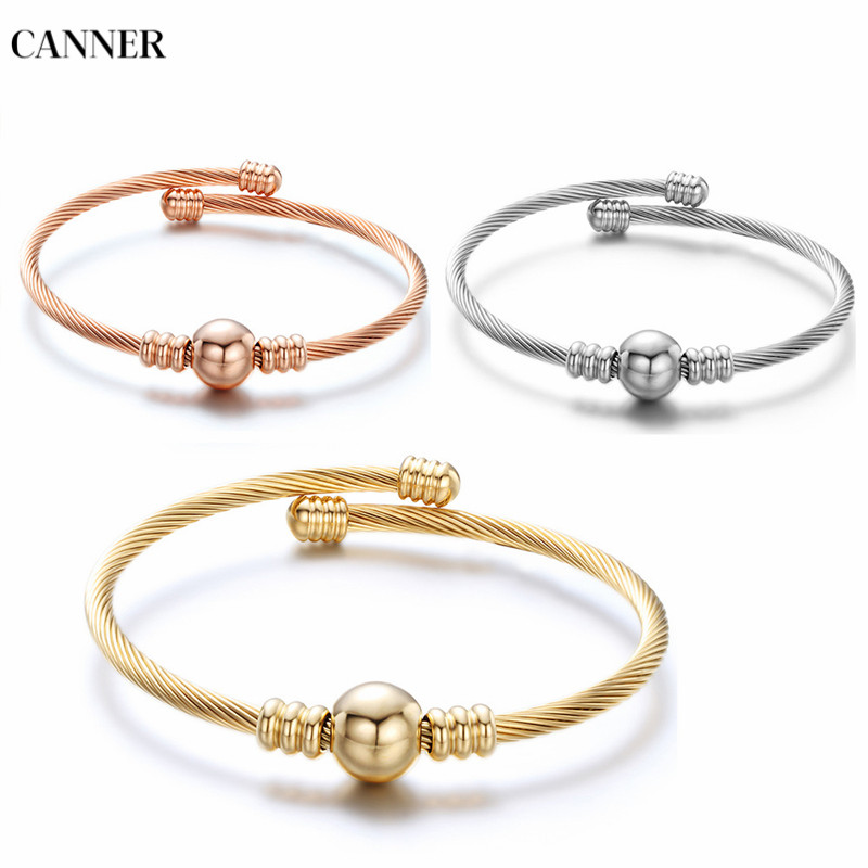 Canner Fashion Metal Bead Stainless Steel Bracelet Multi Twisted Cable Wire Bangle Jewelry For Women