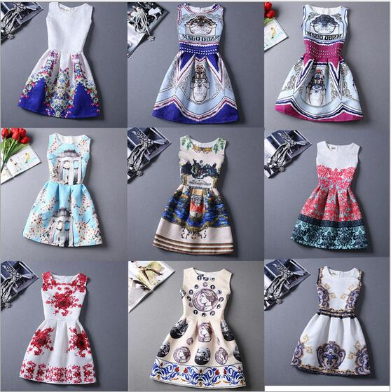 2017 Time-limited Sale Knee-length Straight Retail Summer Style Dresses For Girl Printed Sleeveless Teenagers Party Dress Cheap ujar brand sleeveless mesh patchwork girl summer dress knee length casual linen dresses u52p401