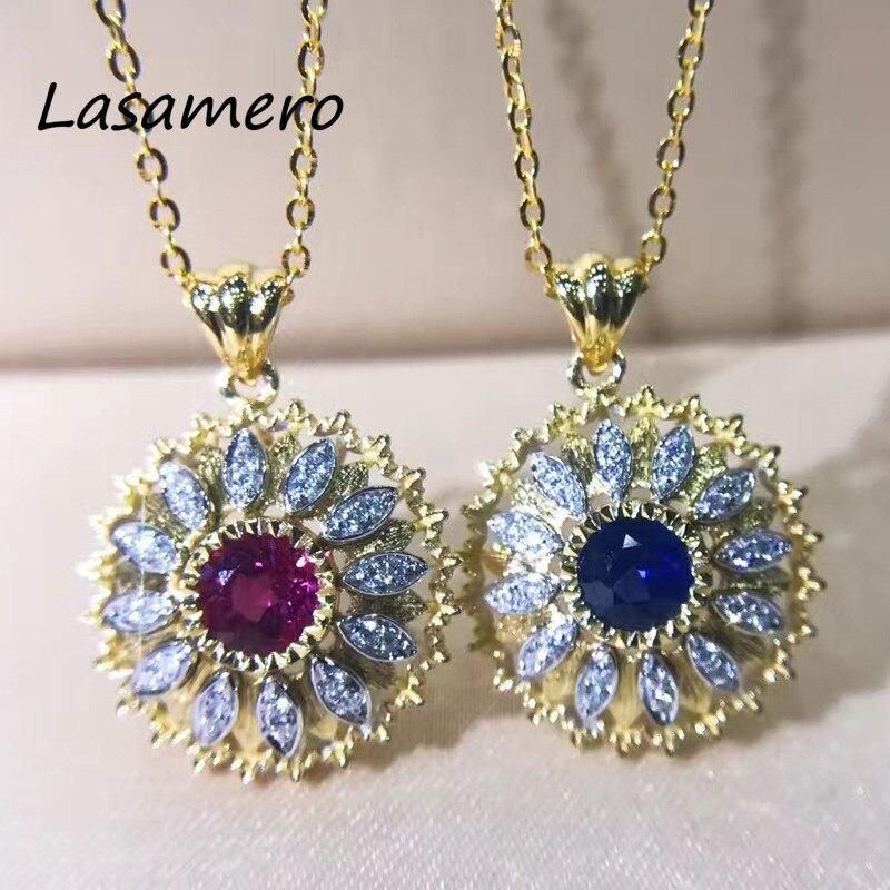 LASAMERO Round Cut Natural Ruby Natural Sapphire Accents Natural Diamonds Halo Delicate 18k yellow Gold Pendant Necklace 1pc цена в Москве и Питере