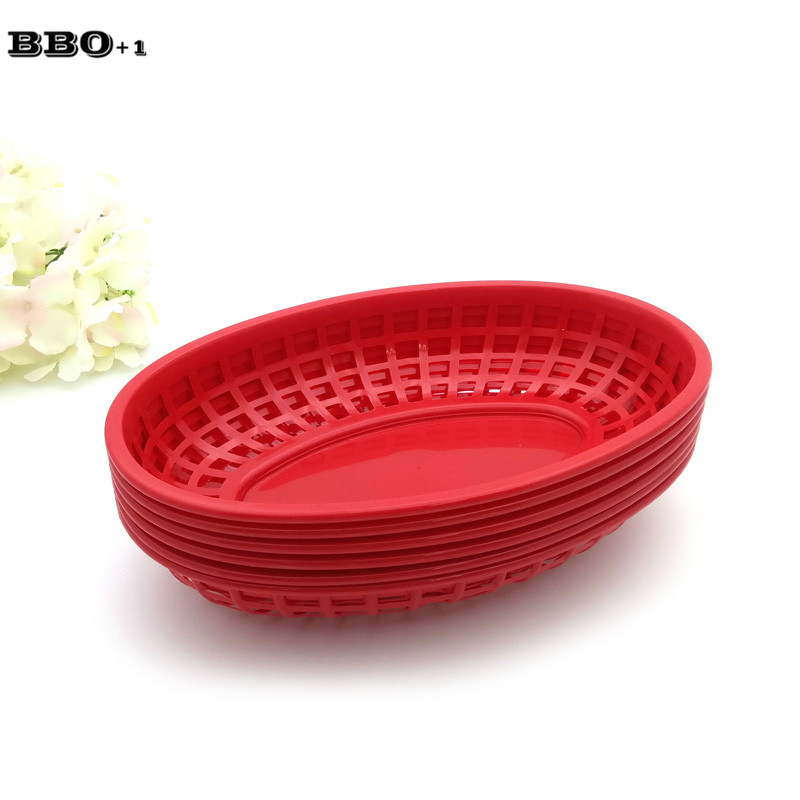 hot 6pcs red french fries basket plastic picnic plates black oval fast burger sandwich serving tray dinner bandeja