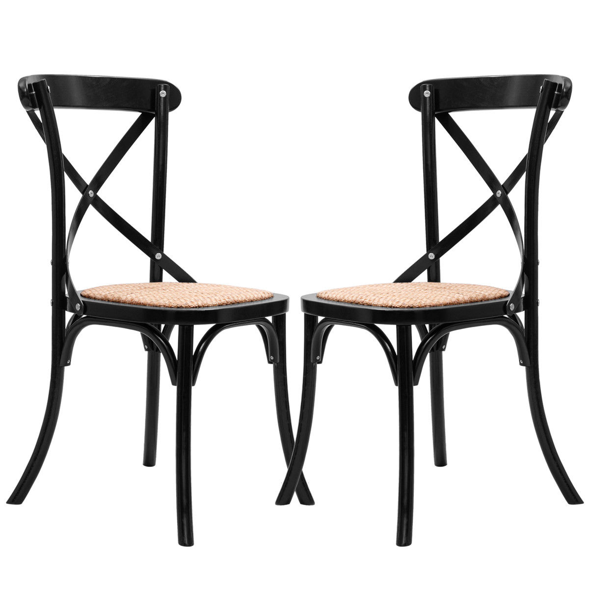 Giantex Set of 2 Cross Back Dining Side Chair Solid Wood Rattan Seat Modern Living Room Dining Room Furniture HW56269BK