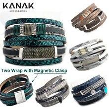 KANAK Boho Brazilian Bracelet Multilayer Women Bracelet Pu Leather Wrap Bracelet Snake Ethnic Magnetic Bangle Jewelry