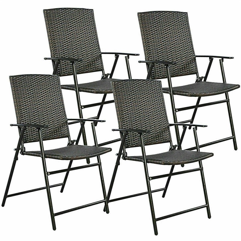 Peachy Us 169 97 30 Off Set Of 4 Rattan Folding Chair Rattan And Steel Fold Up Chairs Foldable To Store And Move Outdoor Garden Furniture Hw51584 In Garden Squirreltailoven Fun Painted Chair Ideas Images Squirreltailovenorg