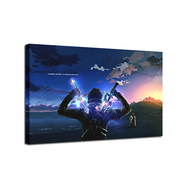Canvas Paintings Home Decor HD Prints Poster 1 Piece/Pcs Sword Art Online Kirito Anime Pictures Living Room Wall Art Framework 4