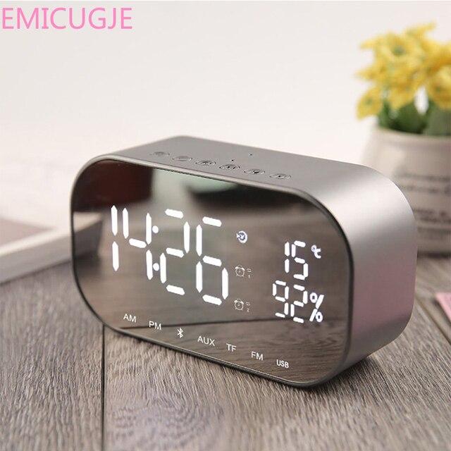 USB odtwarzacz muzyczny bezprzewodowy dla biura sypialnia LED Alarm zegar z radiem FM bezprzewodowy głośnik wzmacniacz Bluetooth Aux TF