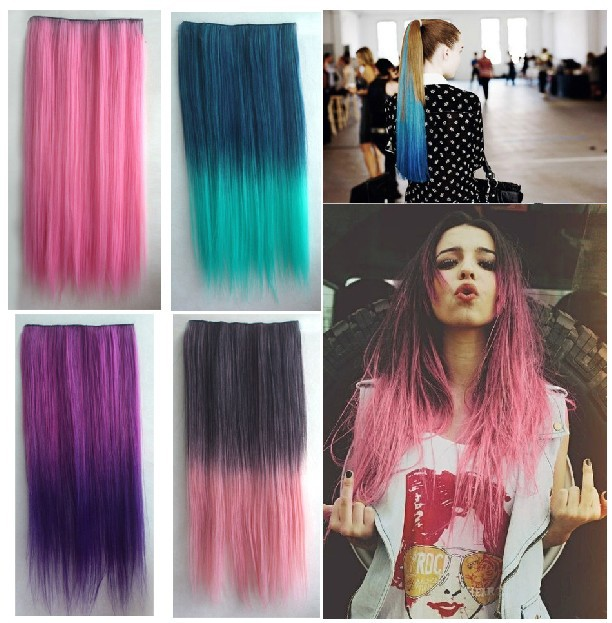 24 clip in gradient hair extensions synthetic ladies multi color 24 clip in gradient hair extensions synthetic ladies multi color straight hairpiece for fancy dress costume head wear on aliexpress alibaba group pmusecretfo Images