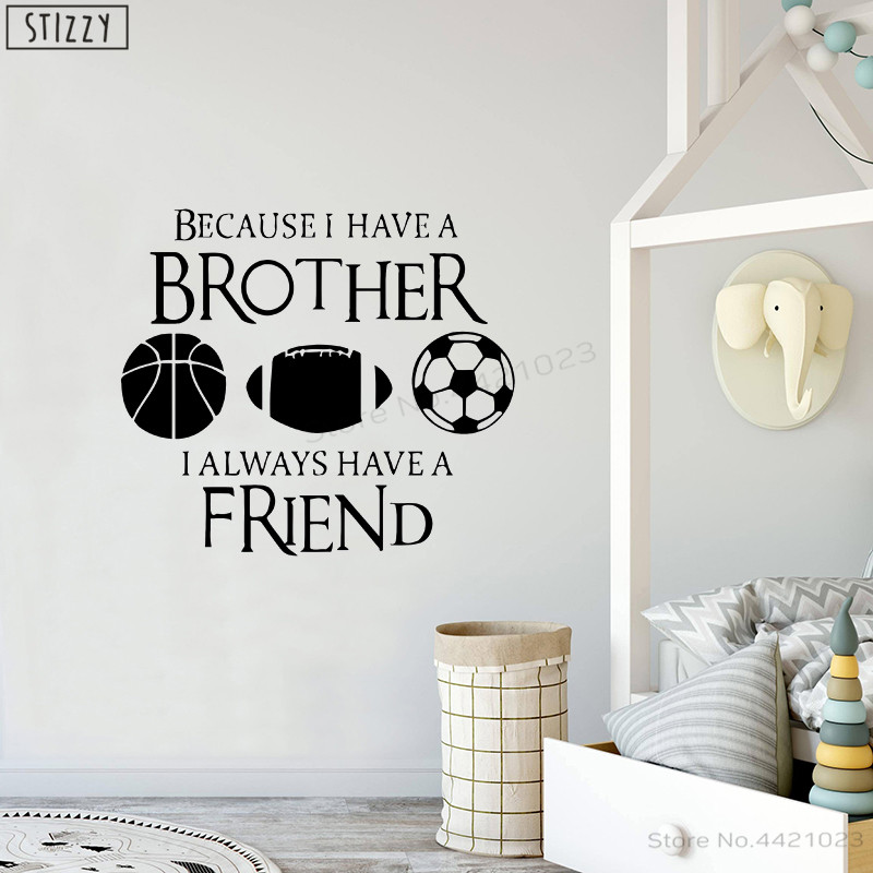 US $6.97 26% OFF|STIZZY Wall Decal Baseball Soccer Football Boys Bedroom  Vinyl Wall Stickers Quotes Brother Friend Kids Room Sport Decor DIY B582-in  ...