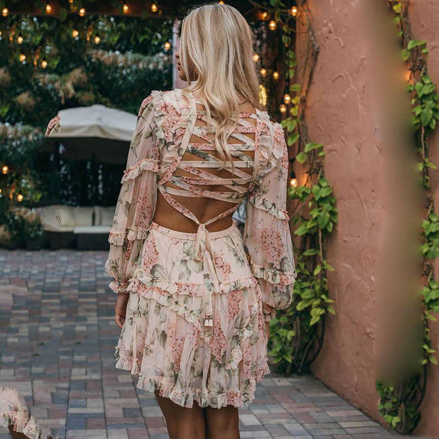 2018 Summer Sexy Criss cross Back Women Dress Flower Print Vocation and Beach Dress Deep V Luxury Brand Sleeve Long Mini-dress