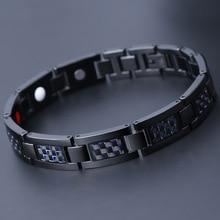 Blue Carbon Fiber Bracelet Fashion Personality Men Titanium Steel Magnet Stainless Headgear