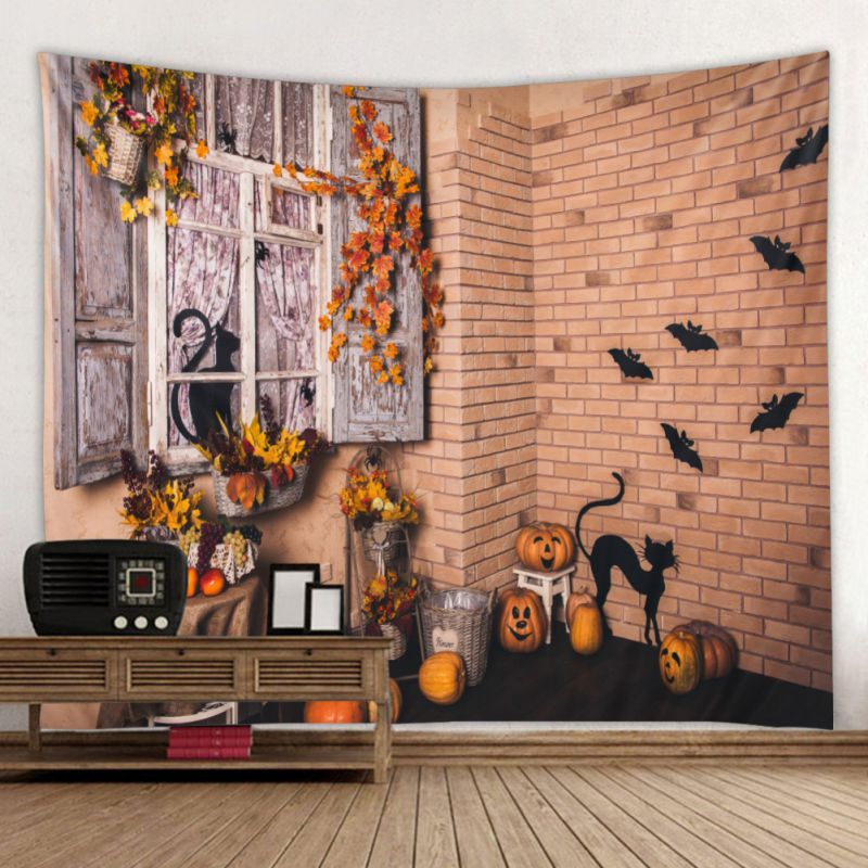 New Halloween Themed Wall Hanging Pumpkin Cat Tapestry Home Decorations Blanket Bedspread Beach Towels Picnic Mat Top in Decorative Tapestries from Home Garden