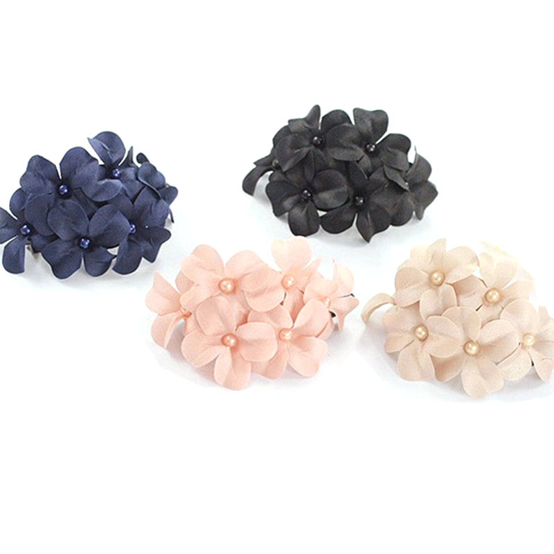 Solid Flower Hair Clips Ornaments Fashion Korean Women Barrettes Hair Accessories Black Plastic Hairgrips FJ013