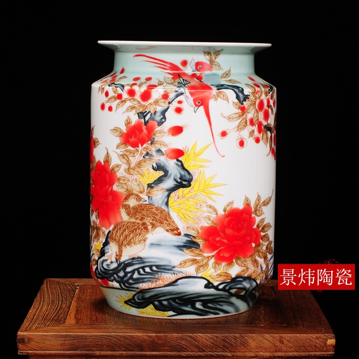 Guci Jingdezhen Pastel Pottery Large Flower Vase Home Decorations Lobby Living Room Study Desk