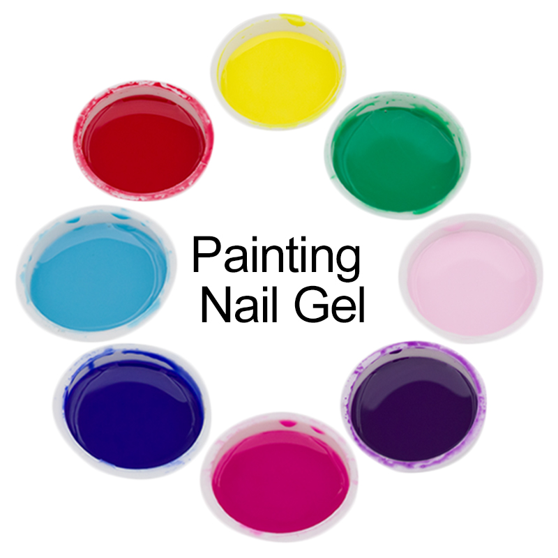 1pcs Nail Art Painting Lacquer Gel 12 Colorful Semi Permanent Nail Polish 3D Painted UV Gel Acrylic Vernis Gel