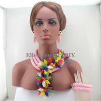 Luxury African beads jewelry sets Flowers beaded Necklace sets nigerian Wedding beads Pink Crystal Party Gift W13280