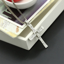 Punk Fast and Furious 8 Long Pendant Necklace Silver Plated Cross for Men