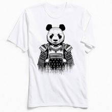 Tshirt Samurai Panda Pure Cotton Men Short Sleeve T Shirt Slim Fit Autumn T-Shirt Summer Tee-Shirt Prevailing O-Neck Top Quality