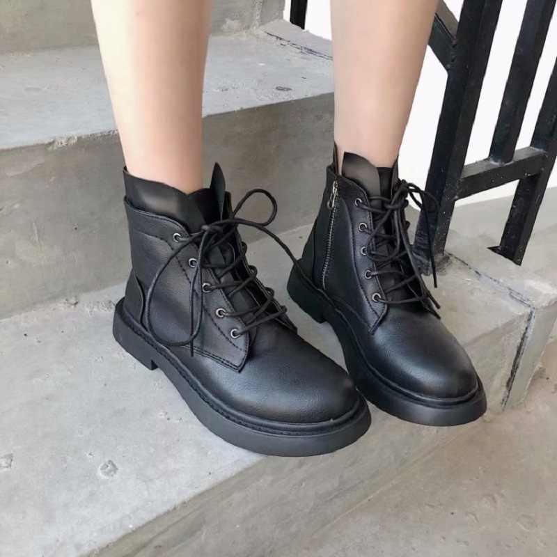 Giày nữ mùa hè 2019 mới thời trang Hoang Dã ren cổ ngắn tăng xe máy lưới đỏ cao giày nữ giày bốt Martin