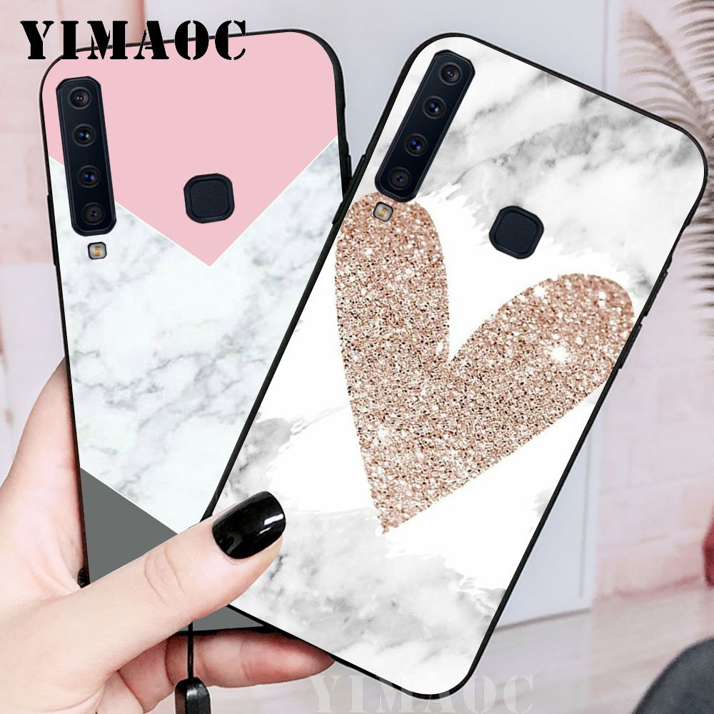 YIMAOC Granite Pink White Marble Texture Soft Case for Samsung Galaxy A3 A5 A6 A7 A8 A9 Plus Note 8 9 A10 A30 A40 A50 A70 in Fitted Cases from Cellphones Telecommunications