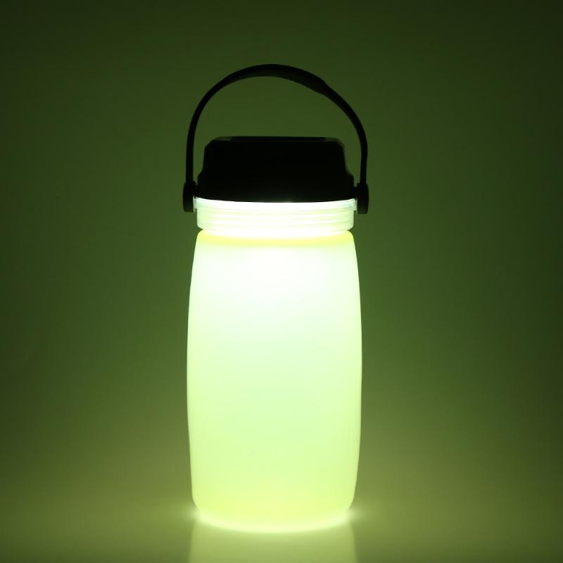 Portable Outdoor LED Water Drinking Bottle Solar Charge Camping Light Luminous Sports Charging Interface Drink Kettle Gift 420ml portable outdoor heat preservation water thermos bottle