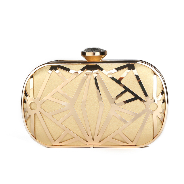 8327198444c0 Luxurious New Hollow out Gold Clutch Diamond Clasp Evening Clutch Bags  Purses Handbags Lady Bridal Chains