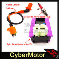 6 Pin Racing Adjuster AC CDI + Ignition Coil + 3 Electrode A7TC Spark Plug For 50cc 125cc 150cc ATV Quad GY6 Scooter Moped