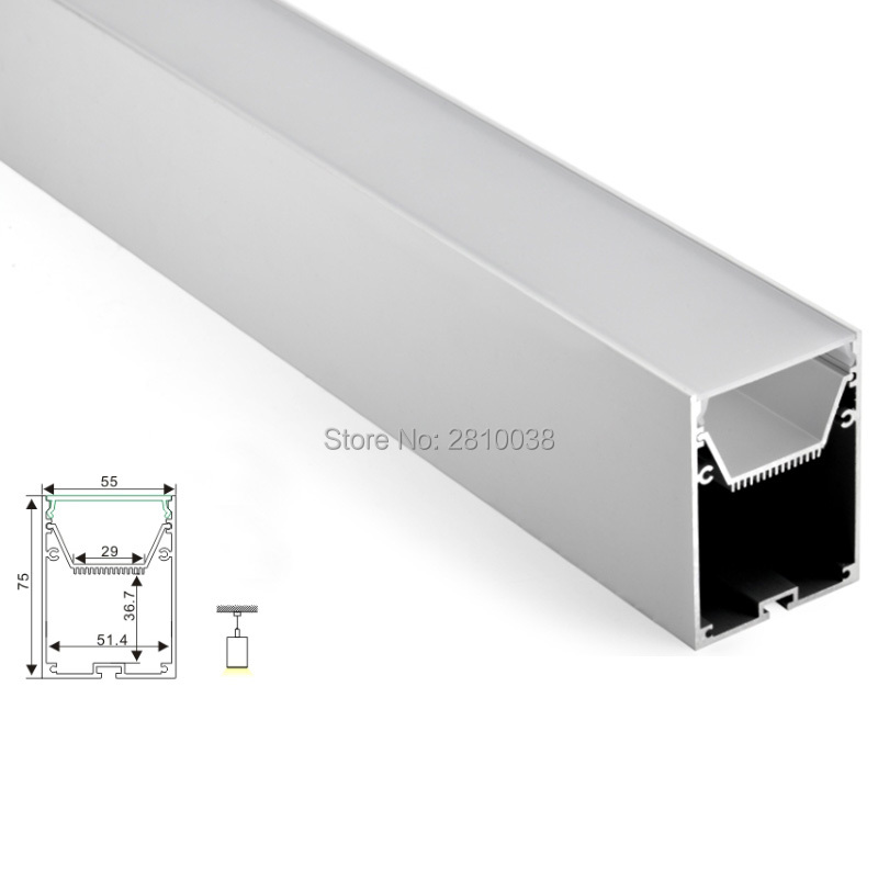 50 X 2M Sets/Lot Office lighting led profile housing 75 mm Tall U type led aluminum extrusion for suspension lights 50 x 2m sets lot office lighting led profile housing 75 mm tall u type led aluminum extrusion for suspension lights