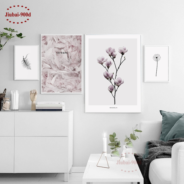 900d Nordic Feather Canvas Art Print Painting Poster Flower Wall Pictures For Home Decoration