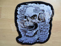 24.5*22.5cm Gun Skull Punk Halley Motor Embroidered Patches Jacket Iron Patches T Shirt Patch Stickers
